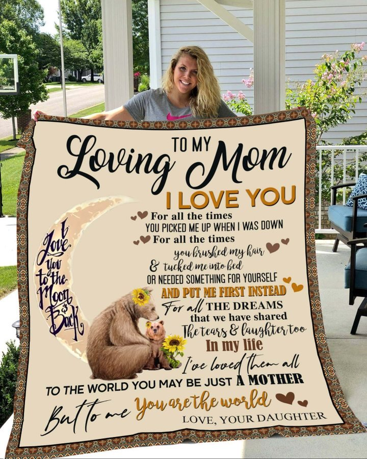 Bear to my loving mom i love you to the moon and back blanket 2