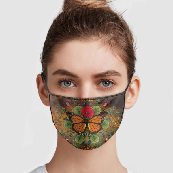 Butterfly and flower vintage anti pollution face mask 2
