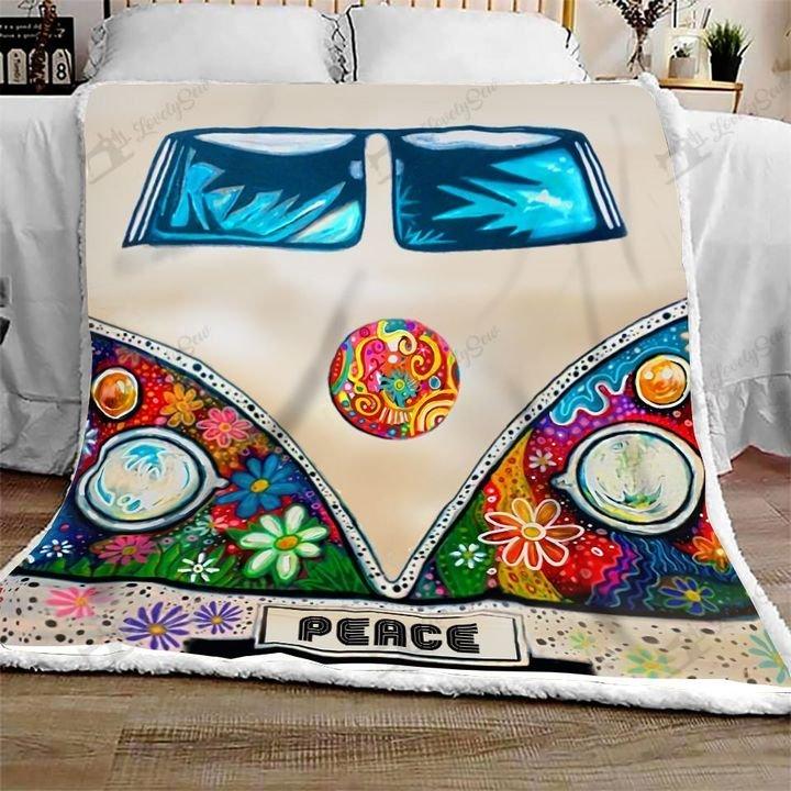 Camping rv peace hippie full printing blanket 2