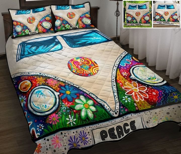 Camping rv peace hippie full printing quilt 1