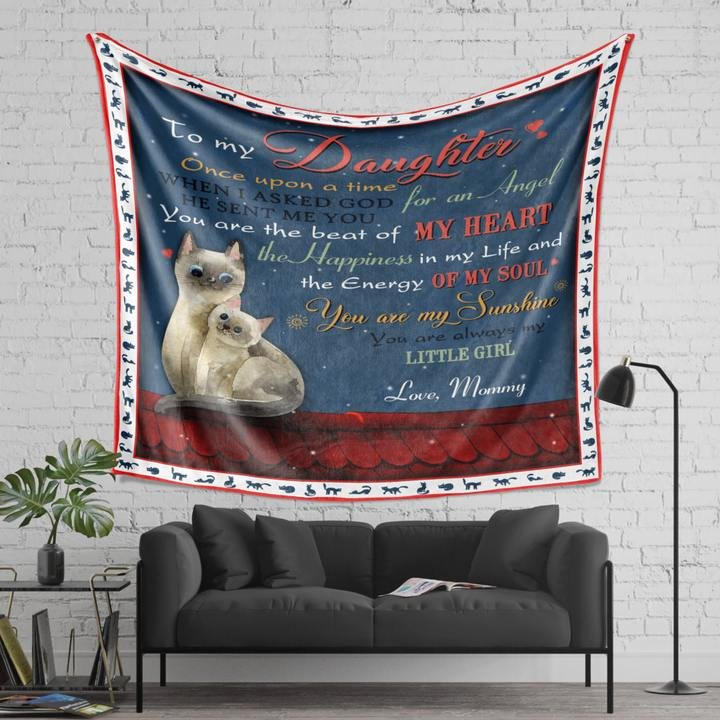 Cat to my daughter love mommy full printing blanket 1