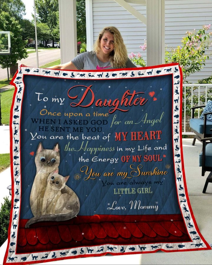 Cat to my daughter love mommy full printing blanket 4