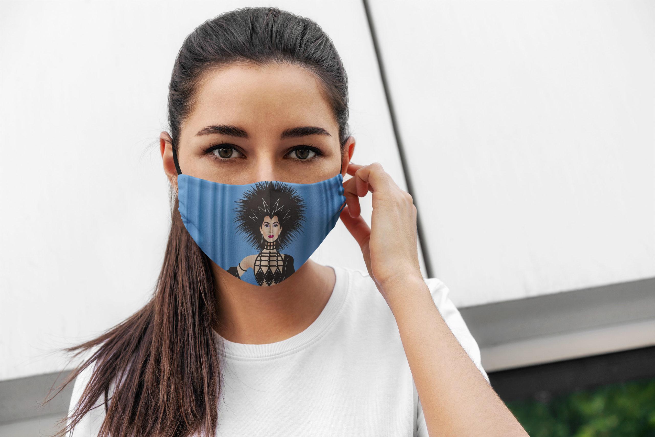 Cherilyn sarkisian cher all over printed face mask 3