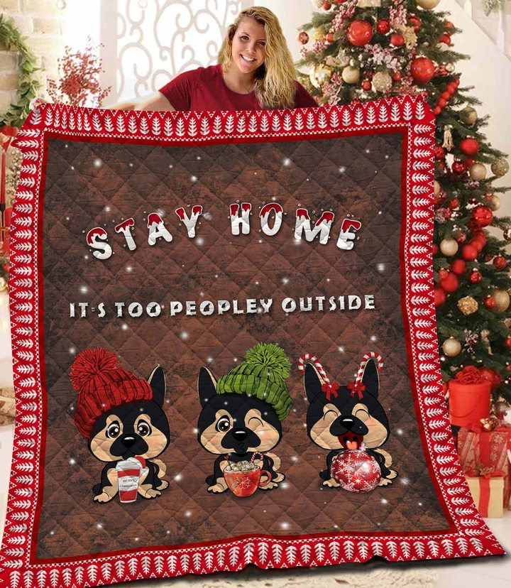 Chihuahua stay home it is too peopley outside christmas quilt 4
