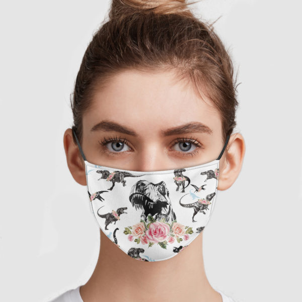 Dinosaur tyrannosaurus floral all over printed face mask 1