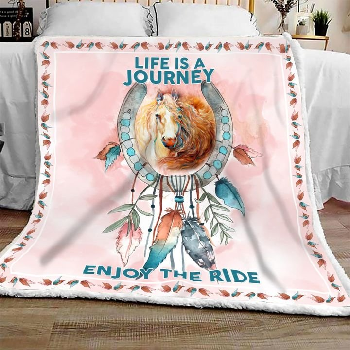 Dreamcatcher horse pink life is a journey enjoy the ride blanket 1