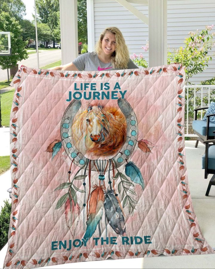 Dreamcatcher horse pink life is a journey enjoy the ride quilt 2