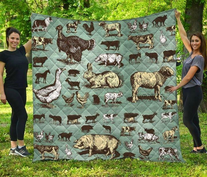 Farm animals full printing quilt 4