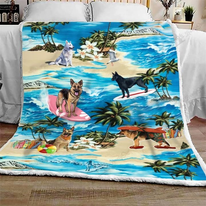 German shepherd hawaiian beach full printing blanket 1