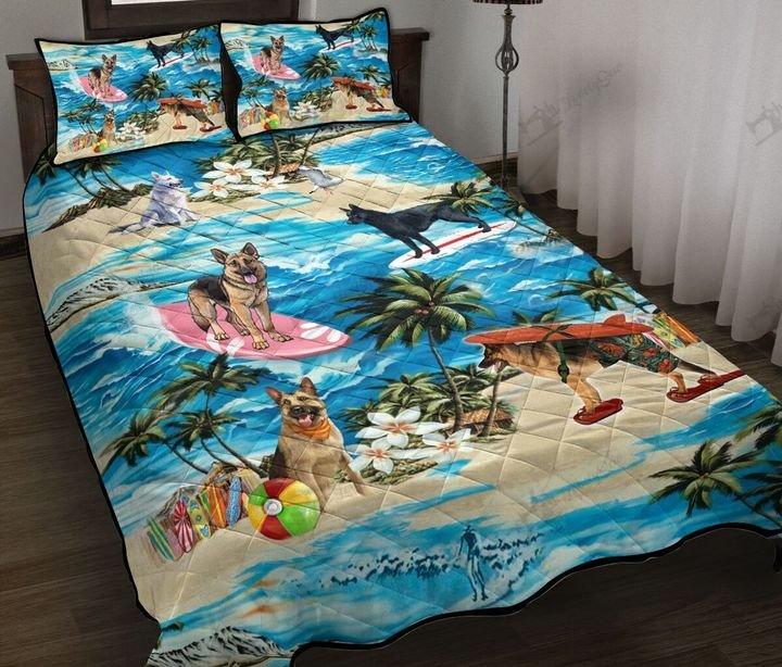 German shepherd hawaiian beach full printing quilt 1