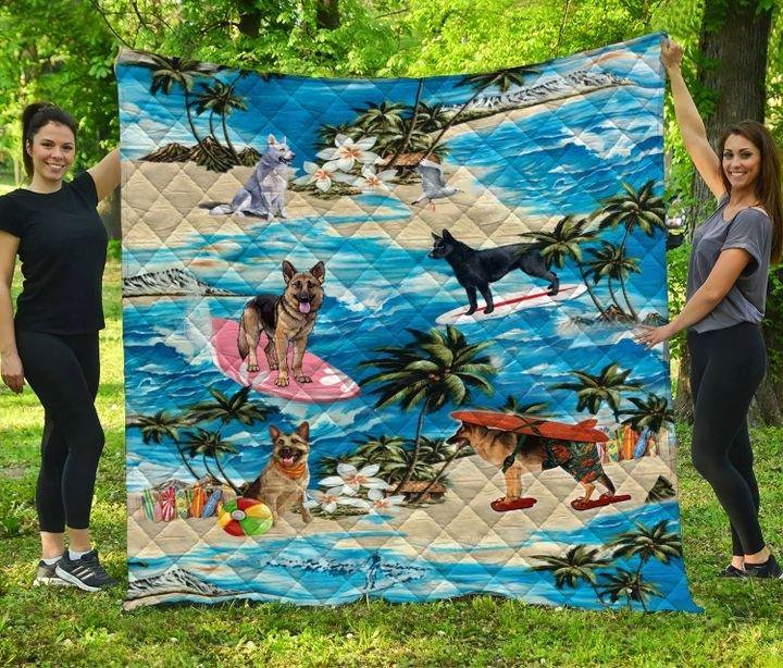 German shepherd hawaiian beach full printing quilt 3
