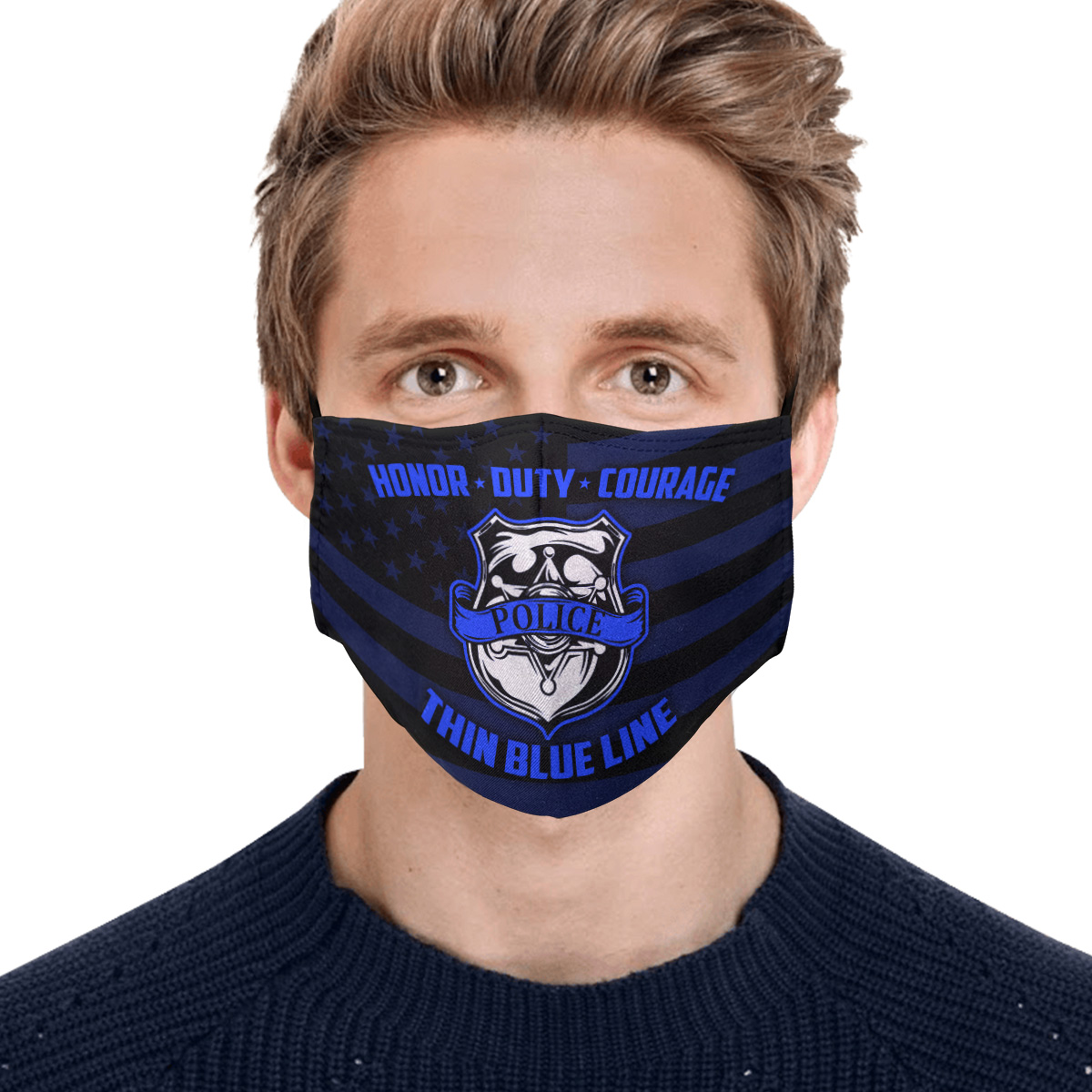 Honor duty courage police back thin blue line face mask 2