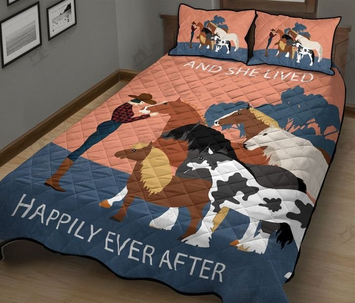 Horses and she lived happily ever after full printing quilt 2