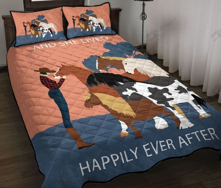 Horses and she lived happily ever after full printing quilt 3