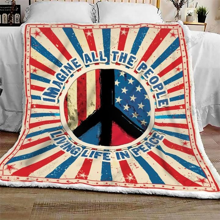 Imagine all the people living life in peace symbol full printing blanket 2
