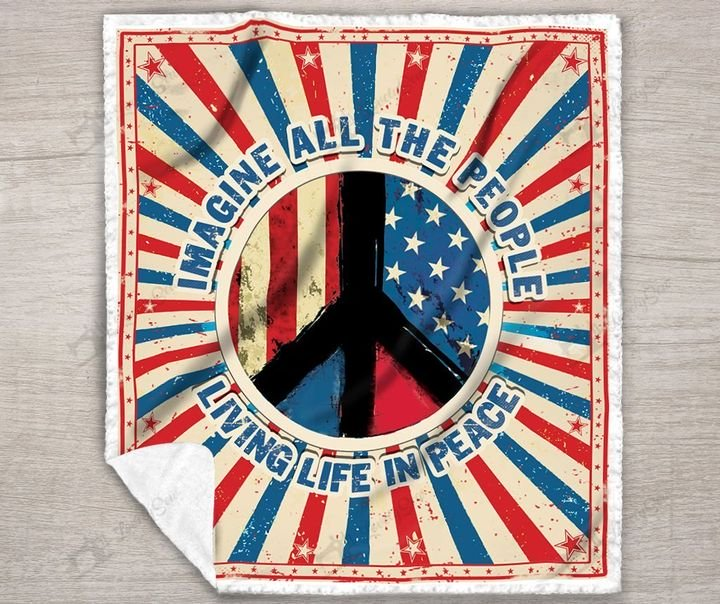 Imagine all the people living life in peace symbol full printing blanket 3