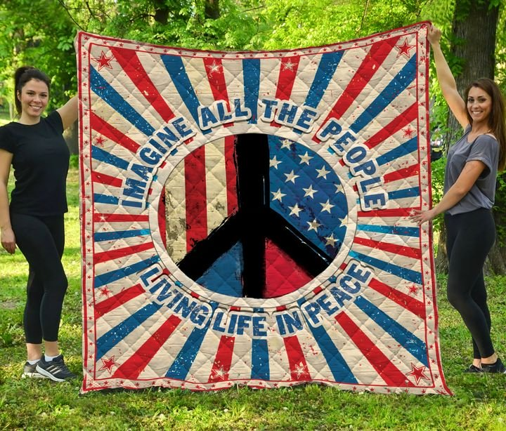 Imagine all the people living life in peace symbol full printing quilt 3