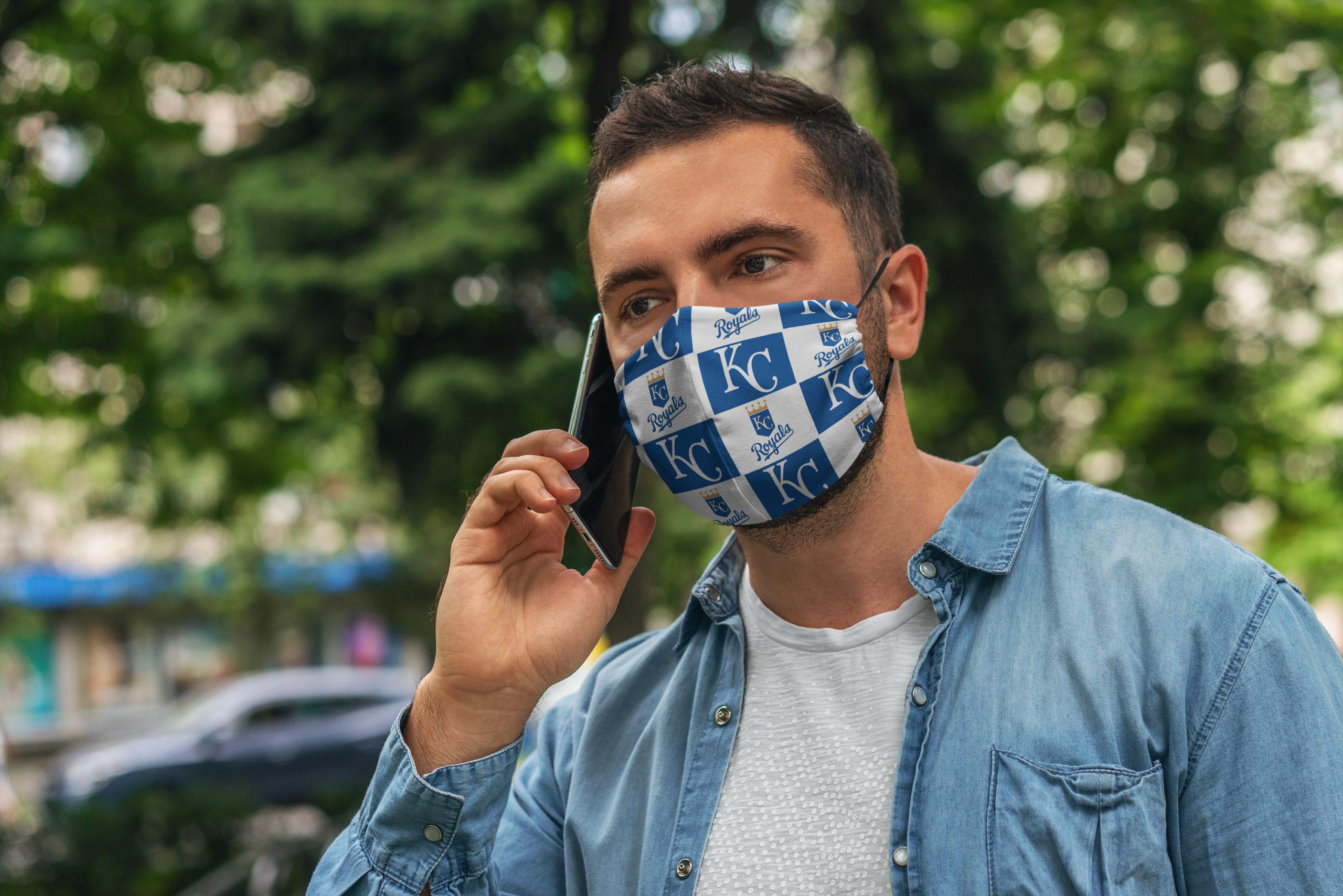 Kansas city royals symbol all over printed face mask 3