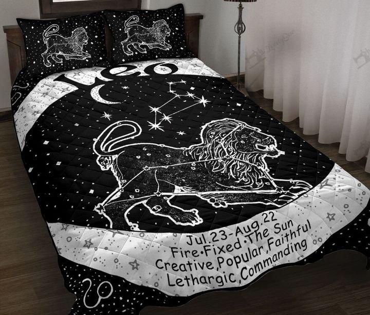 Leo zodiac symbol full printing quilt 1
