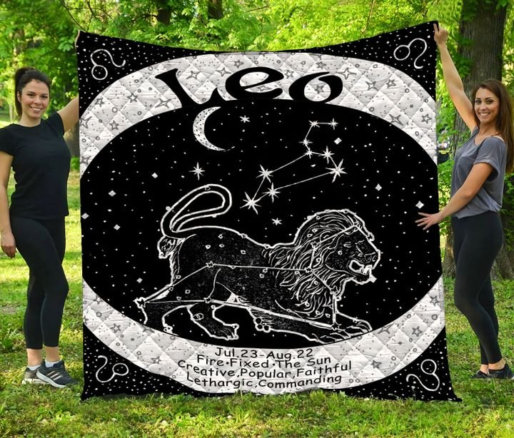 Leo zodiac symbol full printing quilt 3