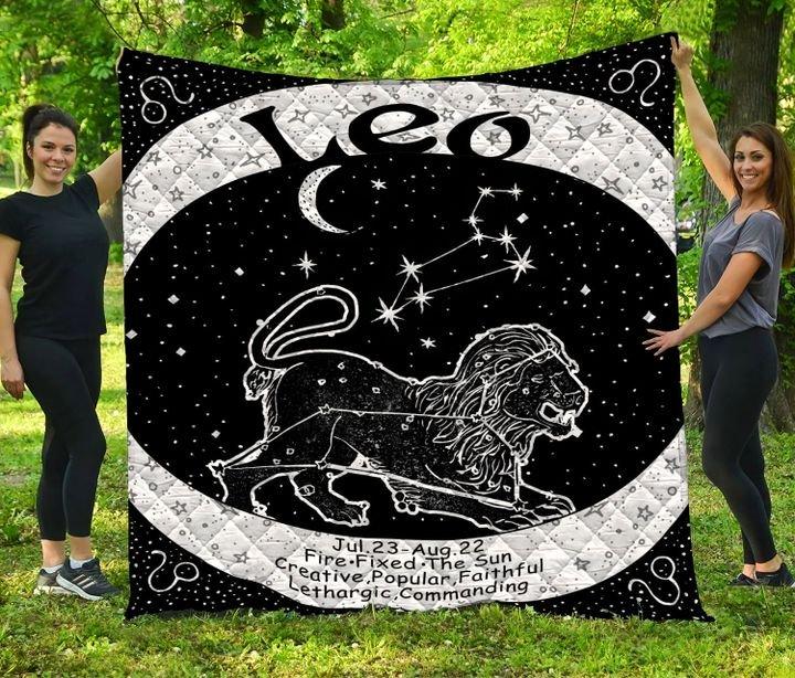 Leo zodiac symbol full printing quilt 4