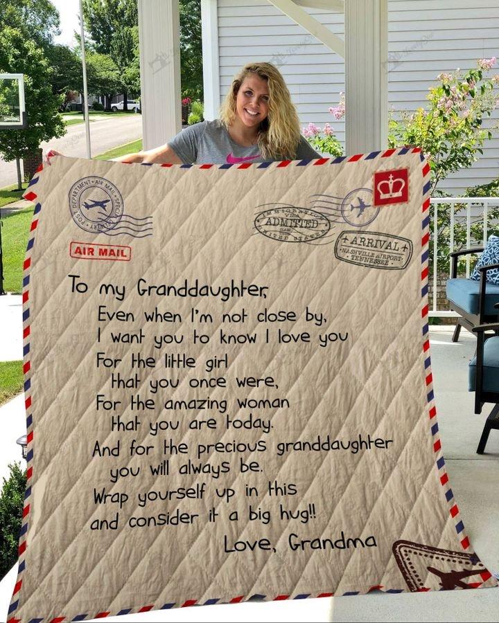 Letter to my granddaughter love grandma full printing quilt 3