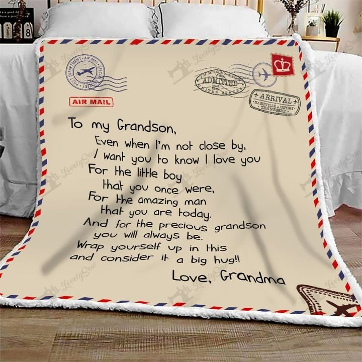 Letter to my grandson love grandma full printing blanket 3