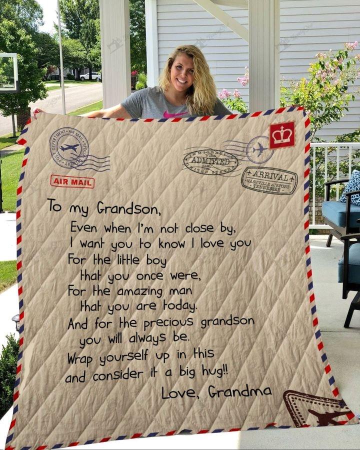 Letter to my grandson love grandma full printing quilt 1