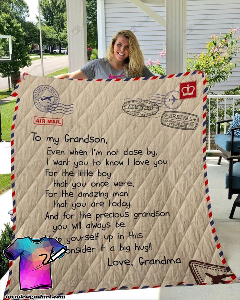 Letter to my grandson love grandma full printing quilt(1)