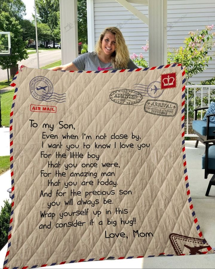 Letter to my son love mom full printing quilt 2