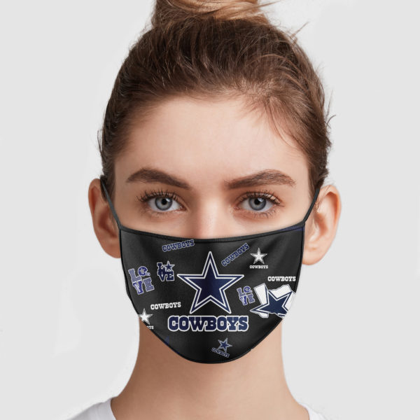 Love dallas cowboys all over printed face mask 1