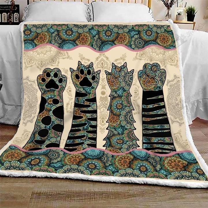 Mandala cat paws full printing blanket 1