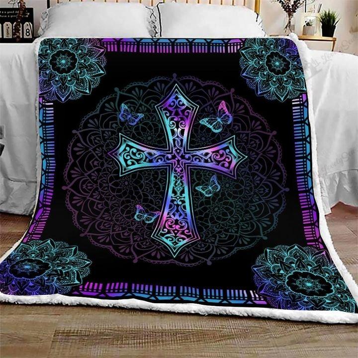 Mandala cross jesus full printing blanket 1