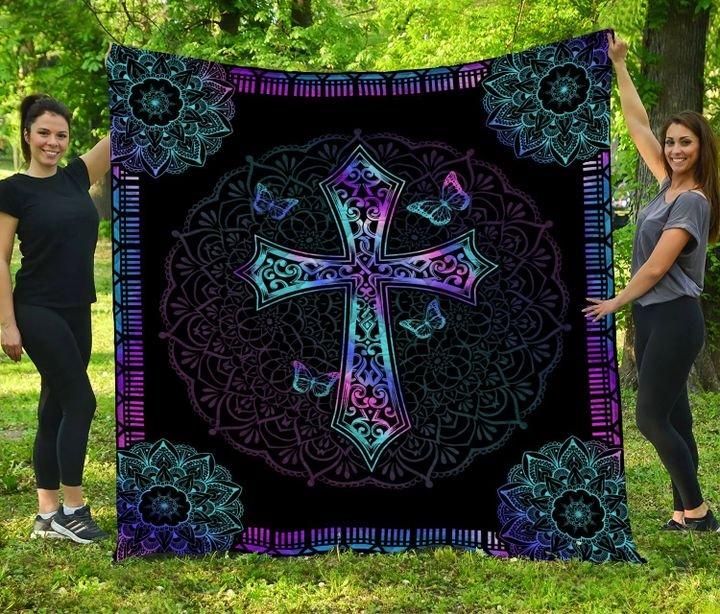Mandala cross jesus full printing quilt 4