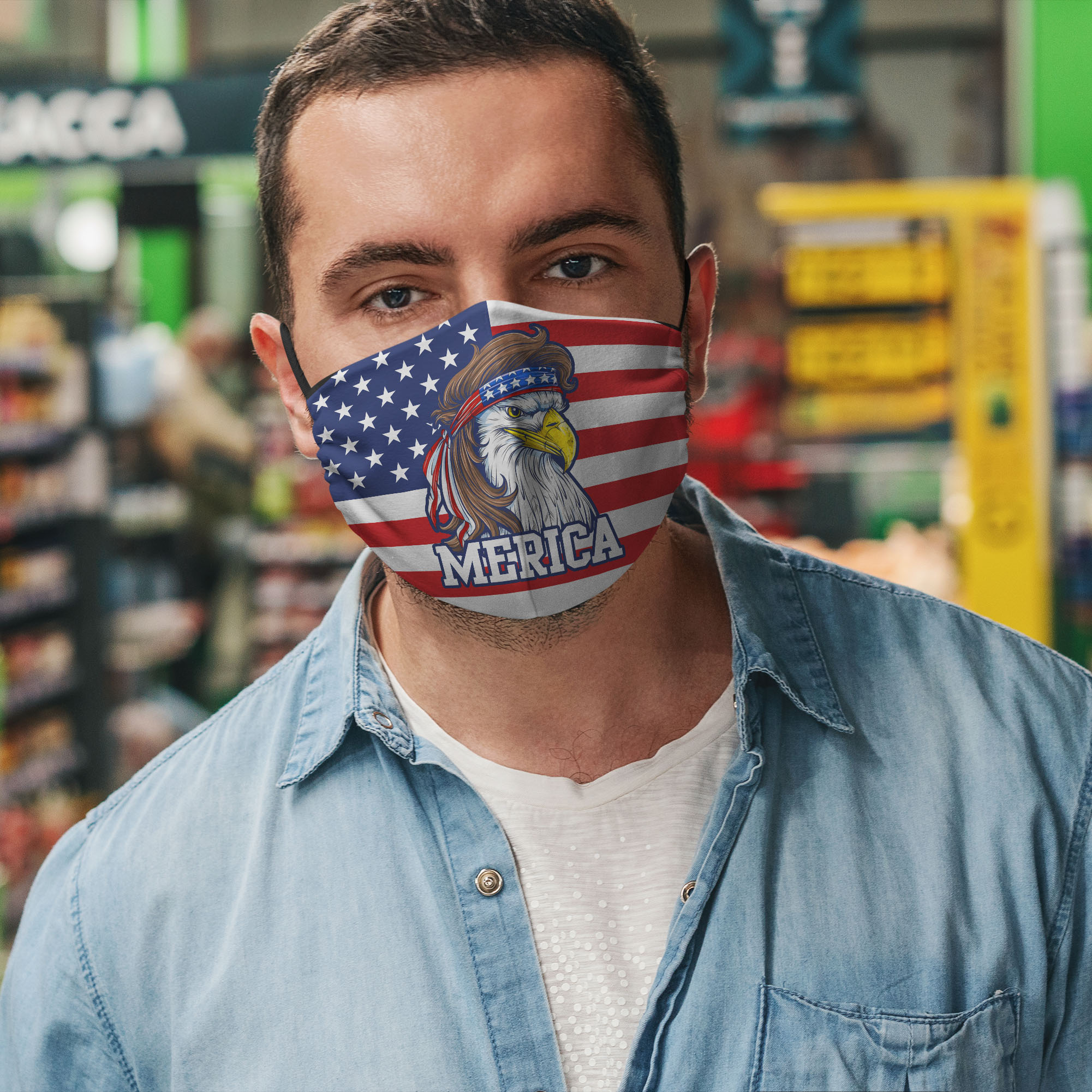 Mullet merica america flag anti pollution face mask 4