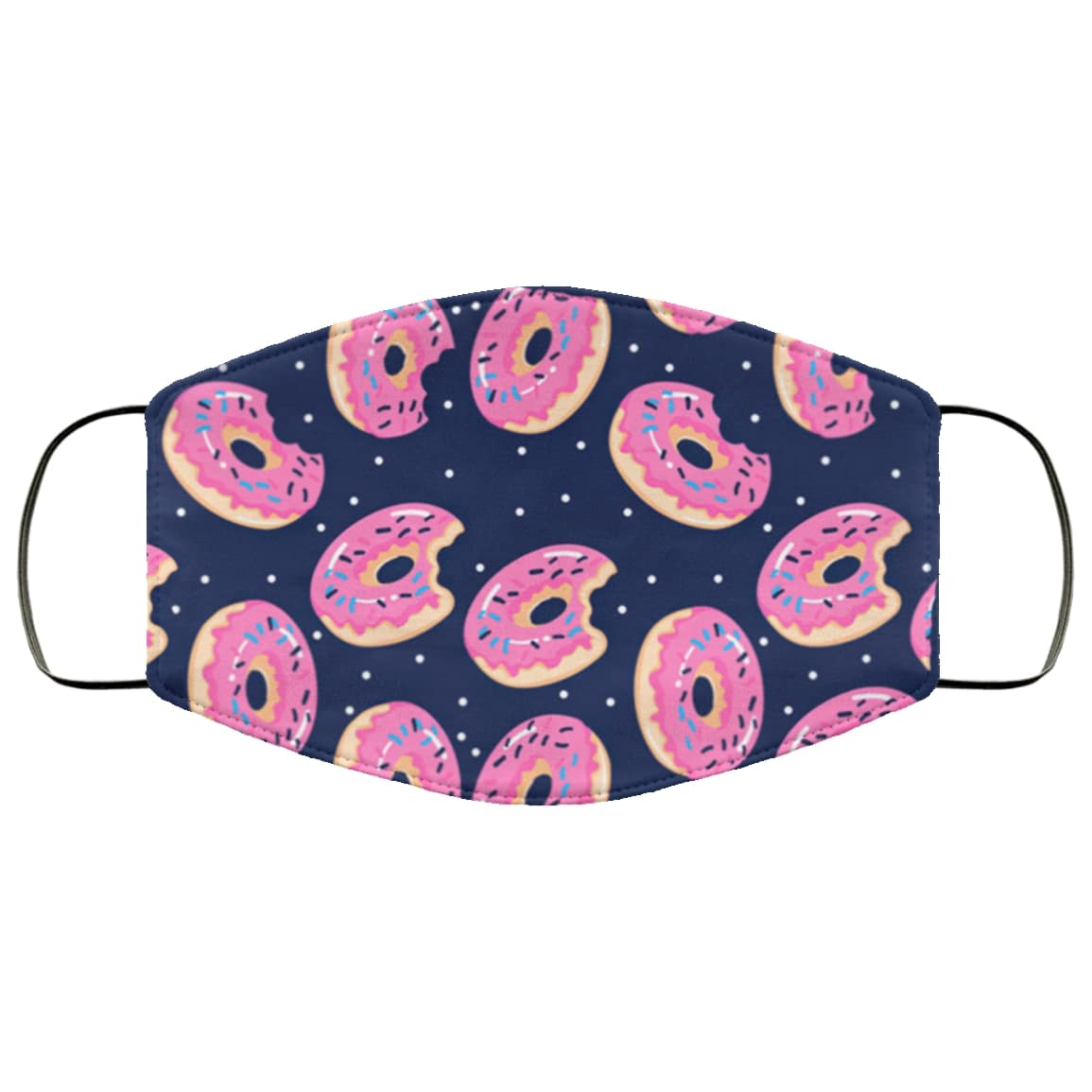 Pink donut all over printed face mask 2