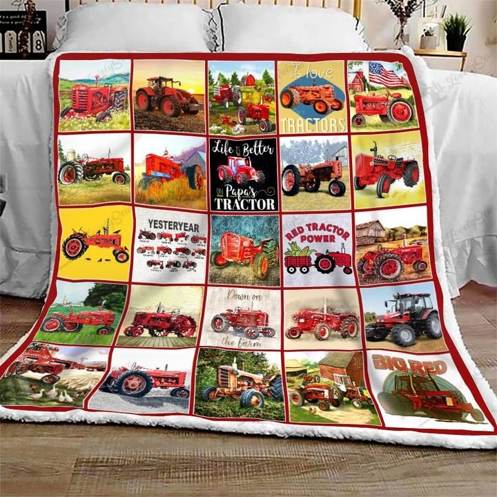 Red tractor all over printed blanket 2