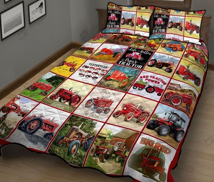 Red tractor all over printed quilt 1