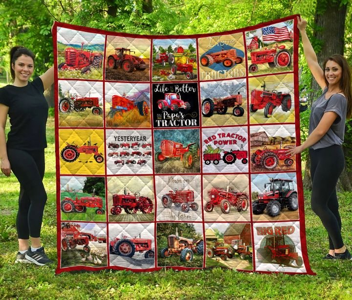 Red tractor all over printed quilt 4