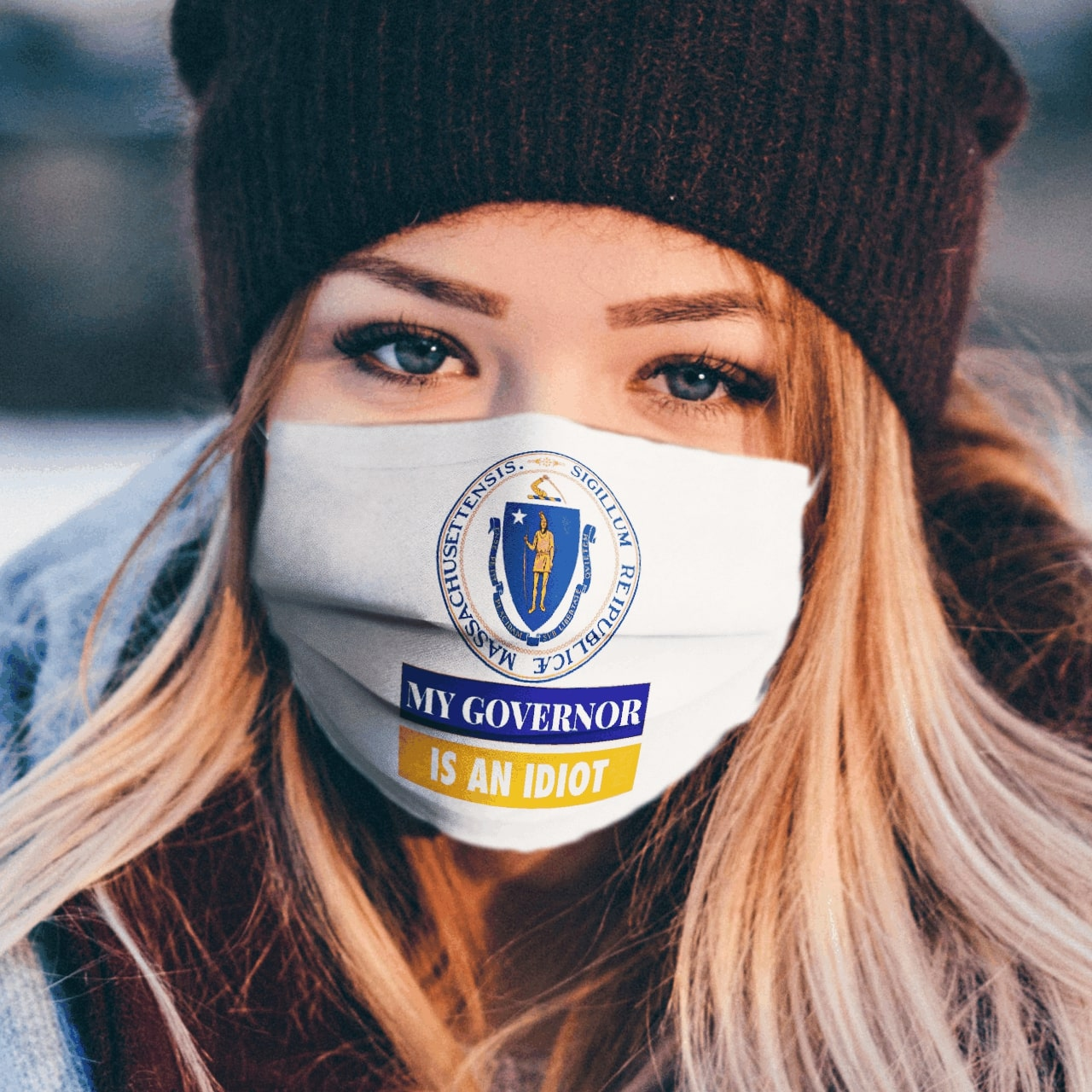 Sarcastic my governor is an idiot massachusetts politics face mask 1
