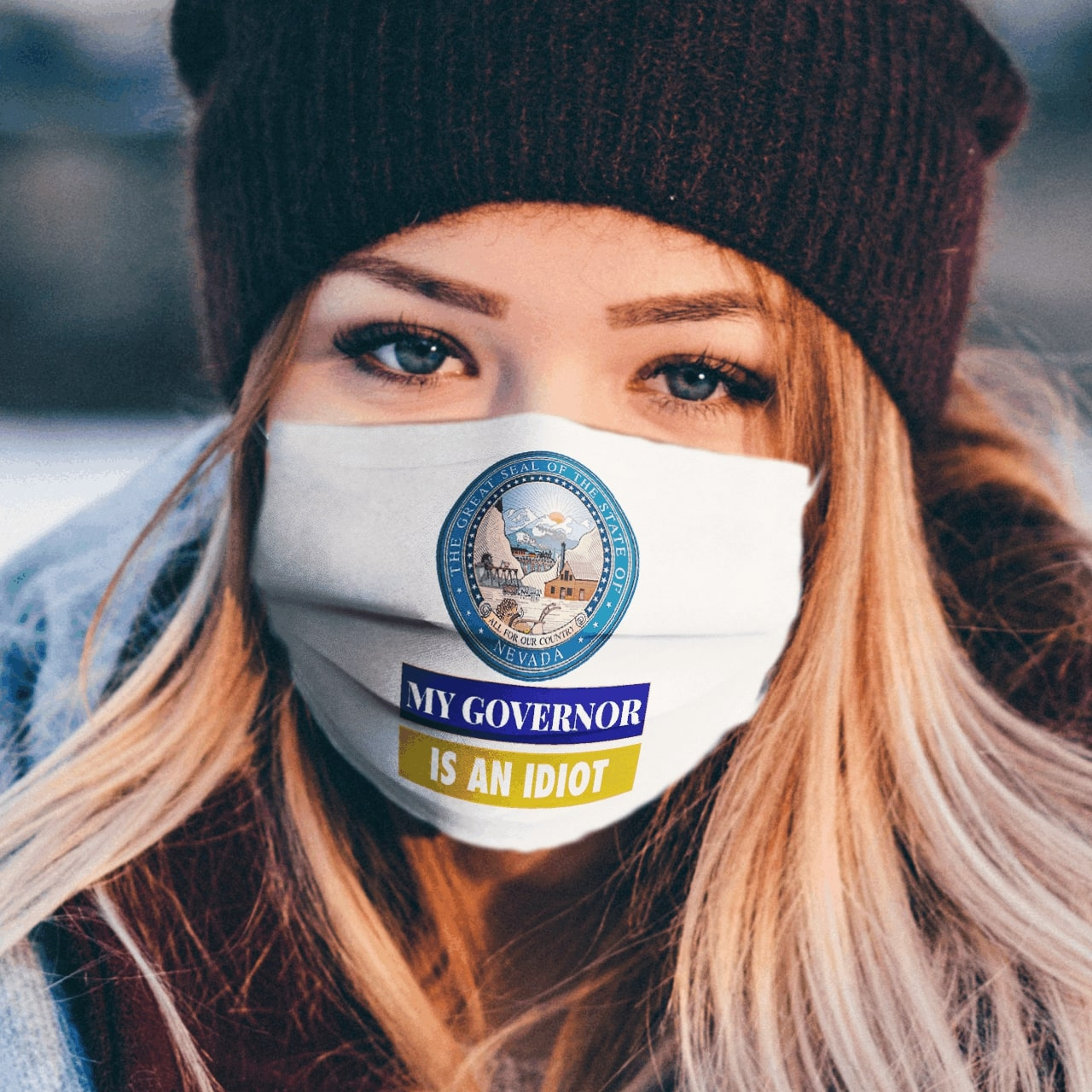Sarcastic my governor is an idiot nevada politics anti pollution face mask 2