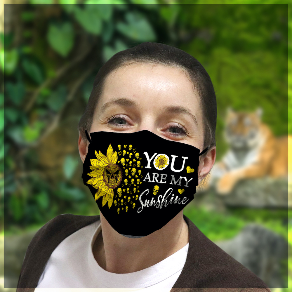 Skull you are my sunshine sunflower all over printed face mask 2