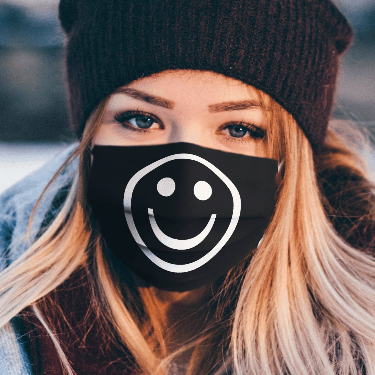 Smiley icon all over printed face mask 2
