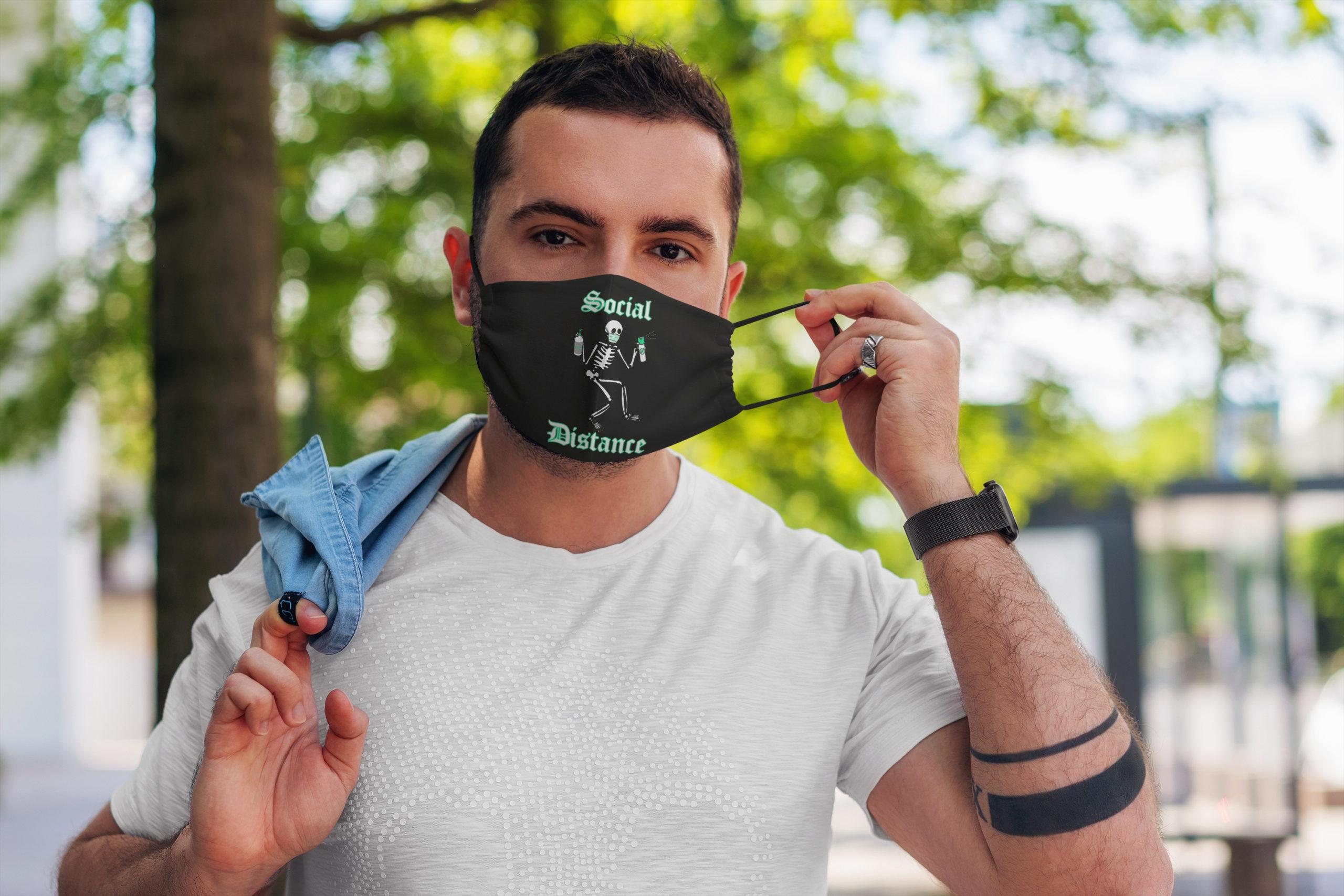 Social distance skeleton all over printed face mask 2