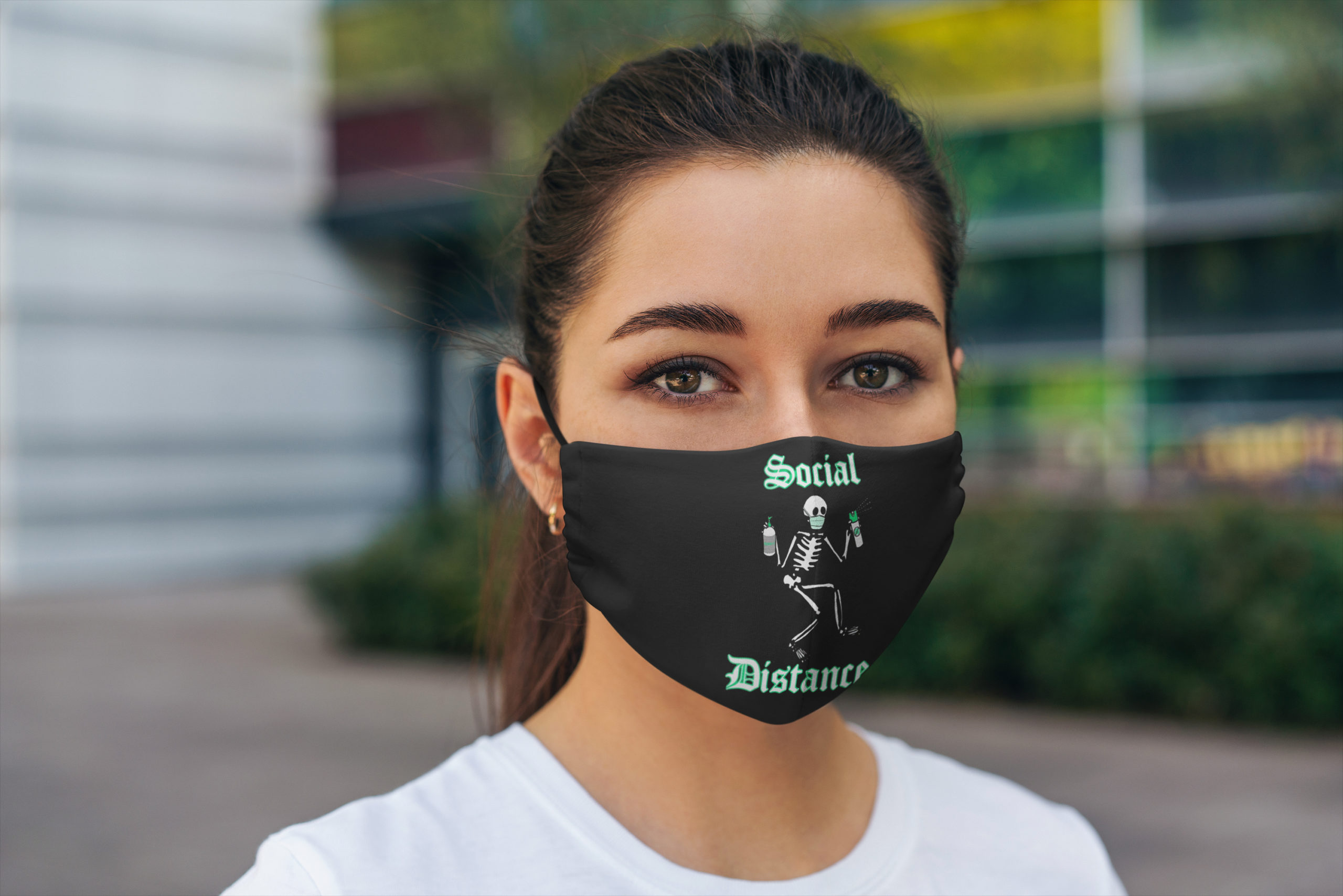 Social distance skeleton all over printed face mask 4