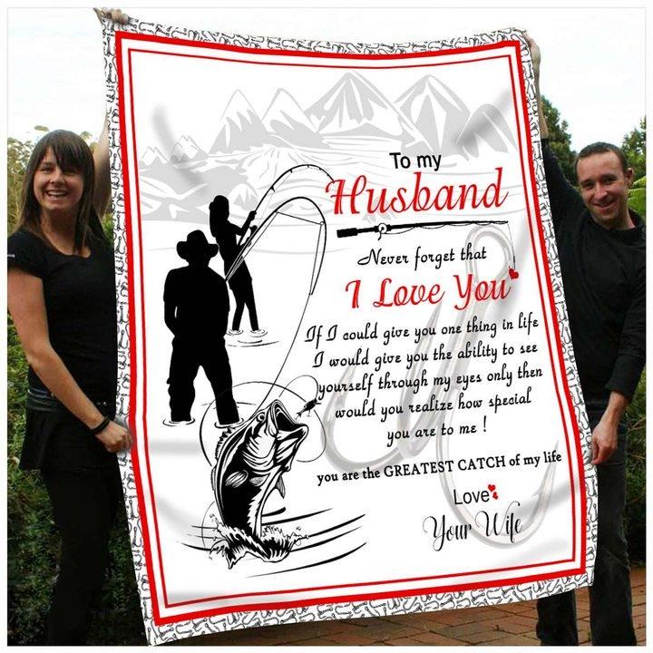 To my husband i love you fishing full printing blanket 1