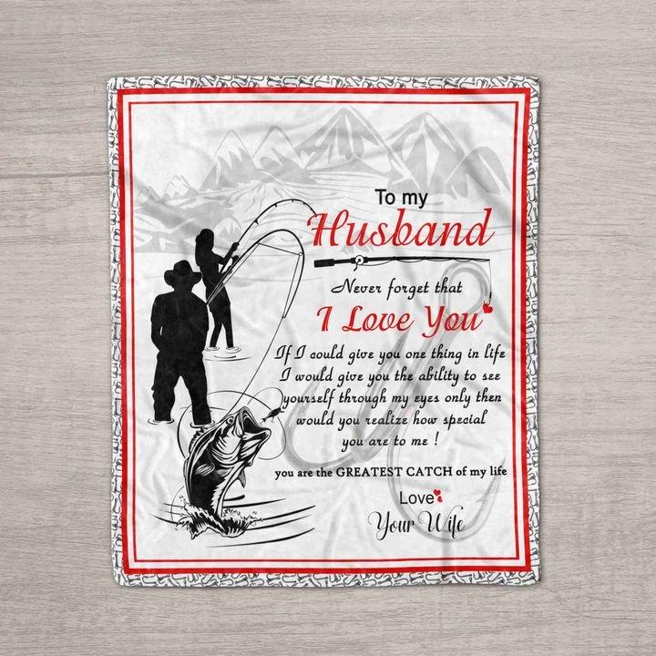 To my husband i love you fishing full printing blanket 3