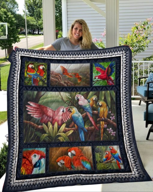 Tropical parrot full printing quilt 1