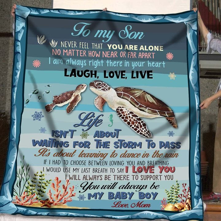 Turtle to my son you will always be my baby boy love mom blanket 3