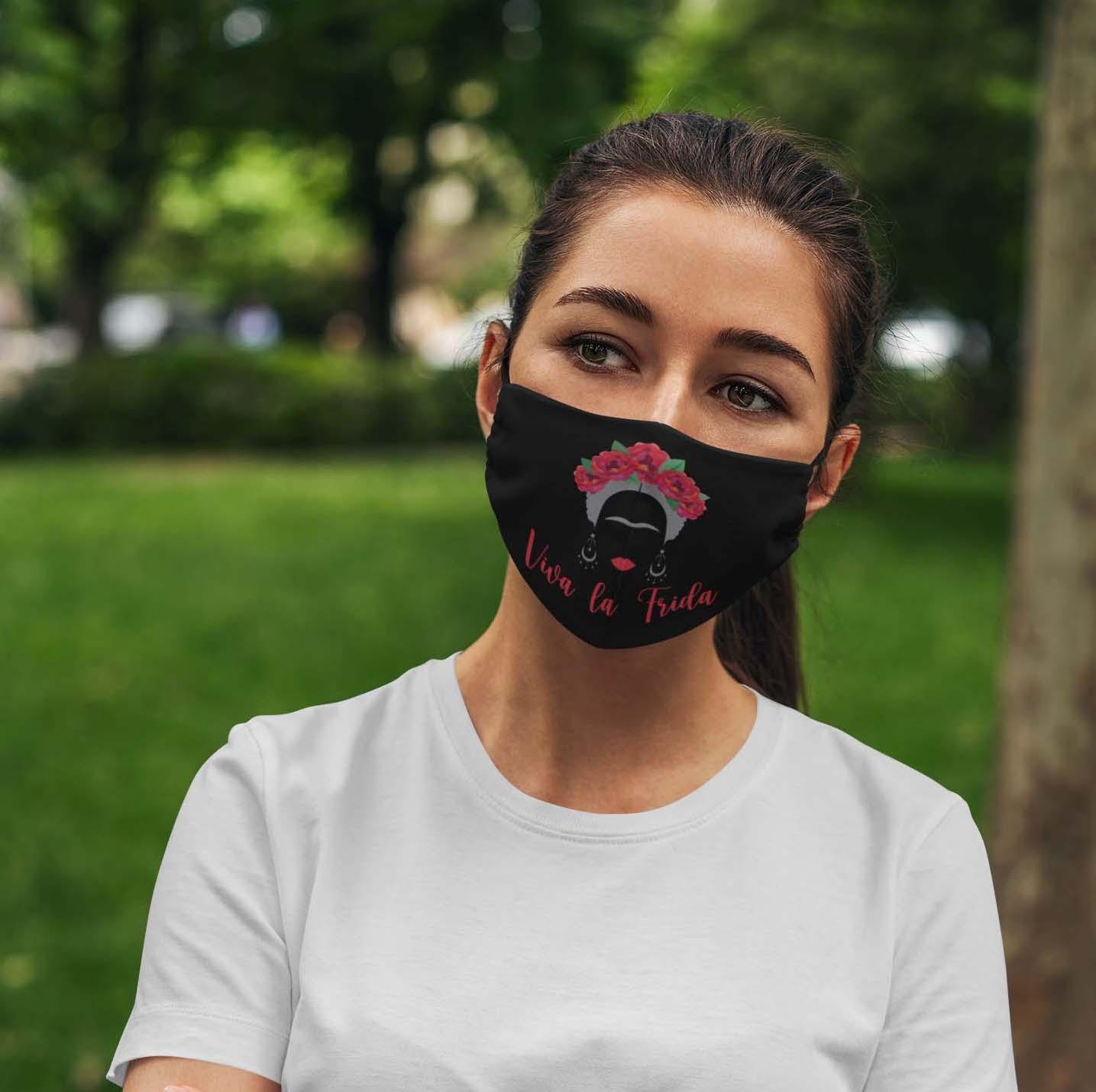 Viva la frida kahlo feminist anti pollution face mask 1